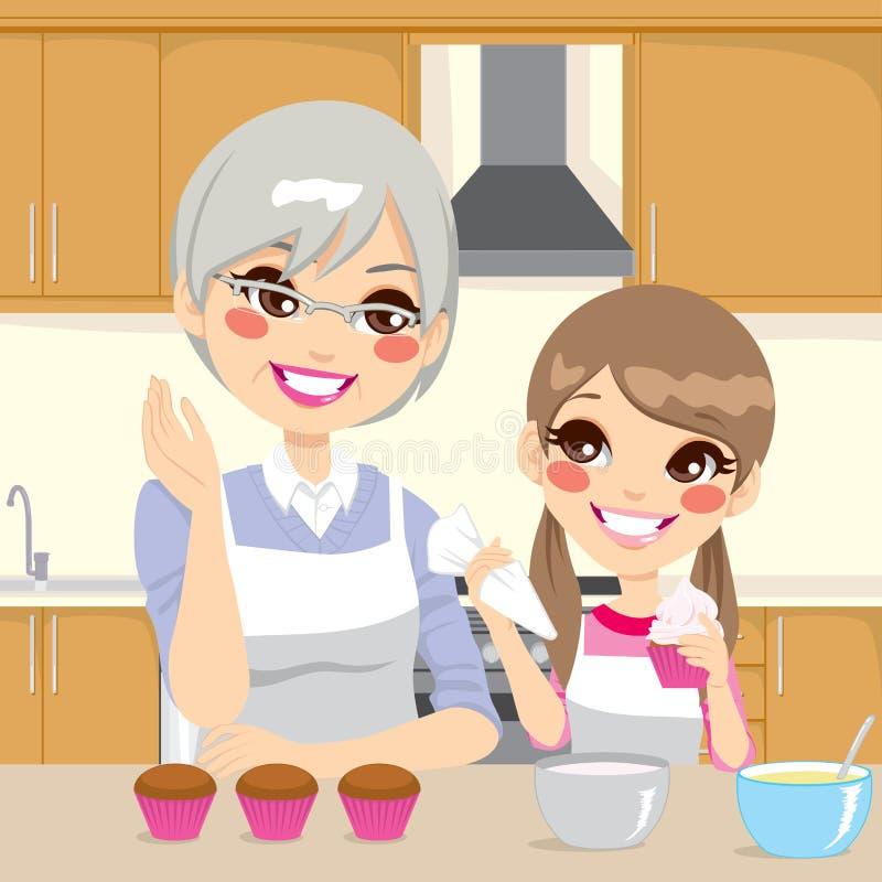Εγγονή διδασκαλίας γιαγιάδων στην κουζίνα ελεύθερη απεικόνιση δικαιώματος