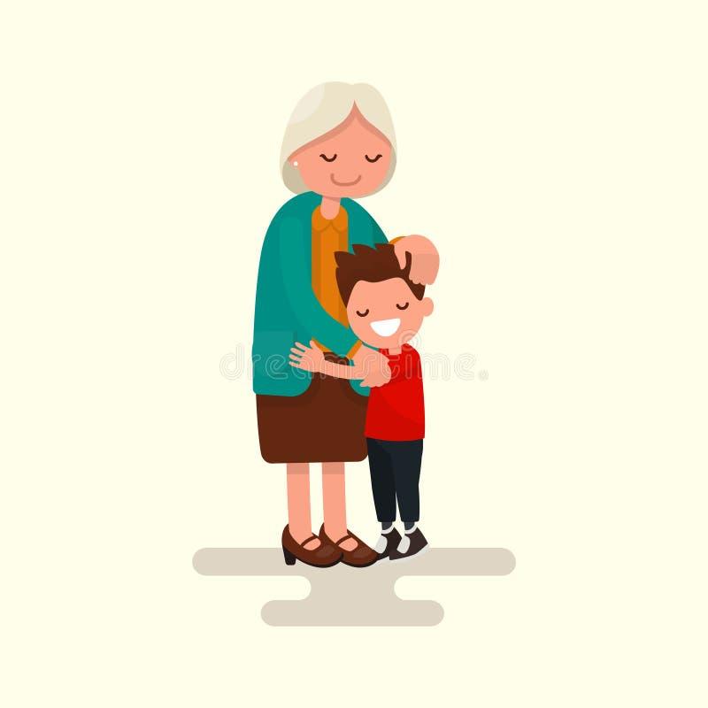 Εγγονός που αγκαλιάζει τη γιαγιά του επίσης corel σύρετε το διάνυσμα απεικόνισης διανυσματική απεικόνιση
