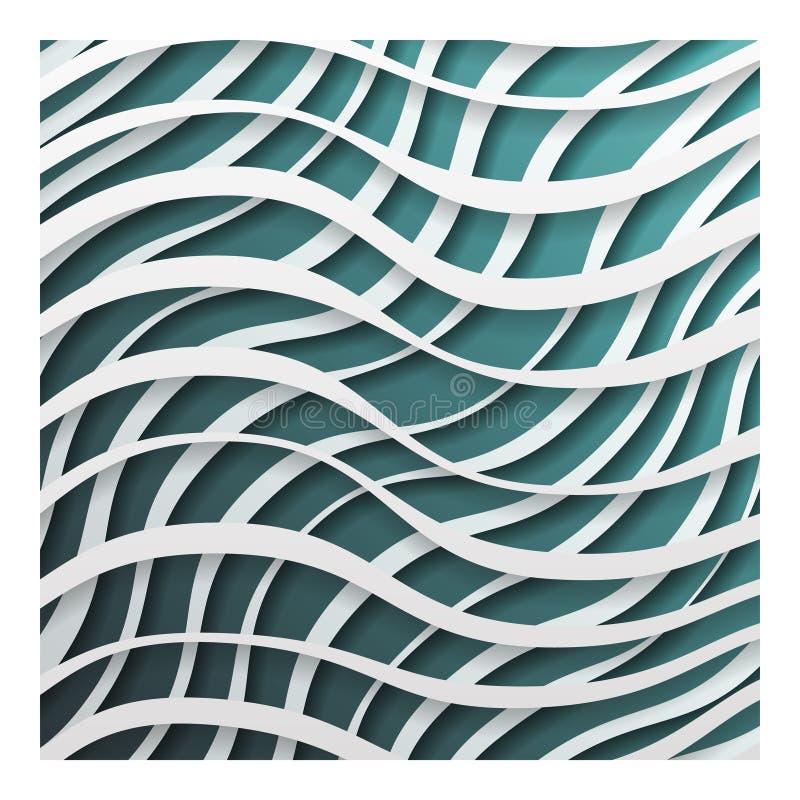Εγγράφου διανυσματική απεικόνιση υποβάθρου σχεδίου προτύπων κυμάτων τρισδιάστατη ρεαλιστική διανυσματική απεικόνιση