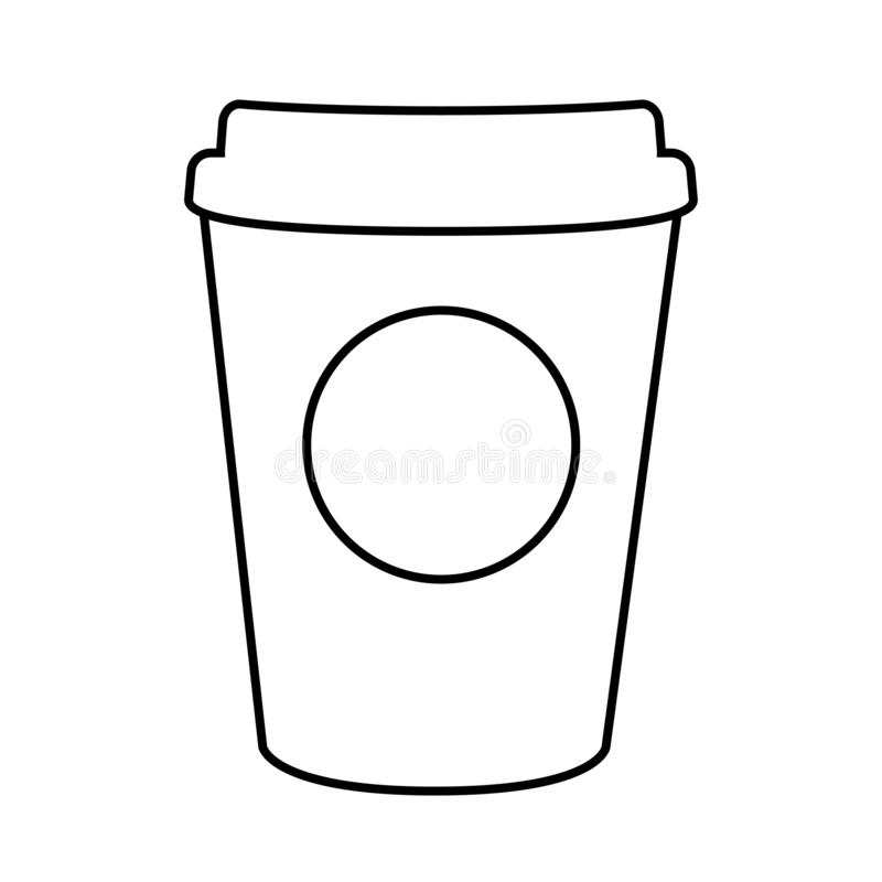 Εγγράφου σαφές σχέδιο γραμμών καφέ απομονωμένο φλυτζάνι απεικόνιση αποθεμάτων