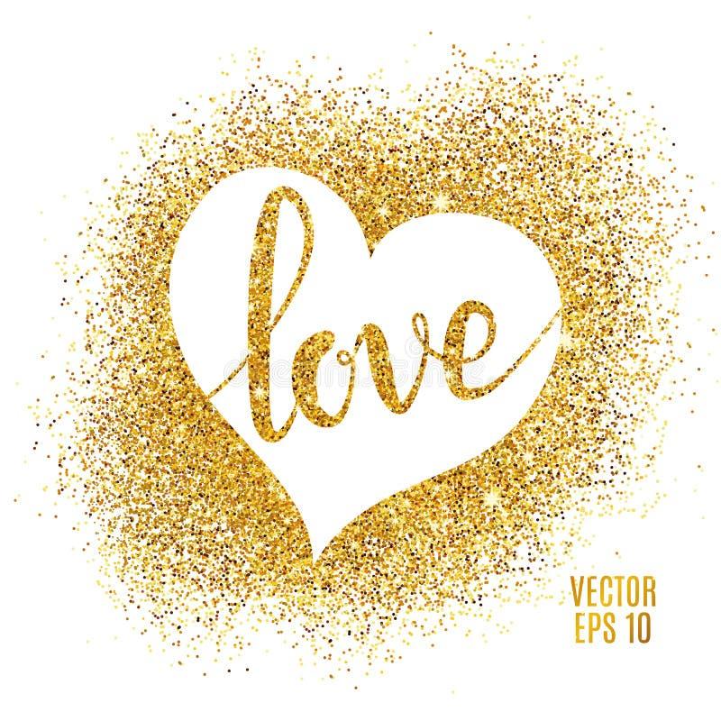 Εγγραφή αγάπης και καρδιά, χρυσό υπόβαθρο σπινθηρισμάτων απεικόνιση αποθεμάτων