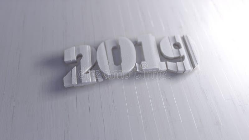 Εγγραφή αριθμών καλής χρονιάς 2019 απομονωμένη που γράφεται από το άσπρο ξύλο στο φωτεινό υπόβαθρο εκλεκτικός μακρο πυροβολισμός  απεικόνιση αποθεμάτων
