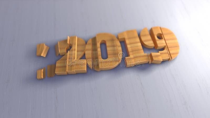 Εγγραφή αριθμών καλής χρονιάς 2019 απομονωμένη που γράφεται από το ξύλο στο άσπρο υπόβαθρο εκλεκτικός μακρο πυροβολισμός εστίασης ελεύθερη απεικόνιση δικαιώματος