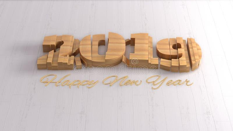 Εγγραφή αριθμών καλής χρονιάς 2019 απομονωμένη που γράφεται από το ξύλο στο άσπρο υπόβαθρο εκλεκτικός μακρο πυροβολισμός εστίασης διανυσματική απεικόνιση