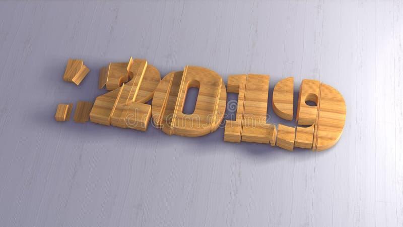 Εγγραφή αριθμών καλής χρονιάς 2019 απομονωμένη που γράφεται από το ξύλο στο άσπρο υπόβαθρο εκλεκτικός μακρο πυροβολισμός εστίασης απεικόνιση αποθεμάτων