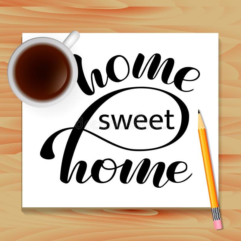 Εγγραφή εγχώριων γλυκιά σπιτιών Πίνακας με τον καφέ r διανυσματική απεικόνιση