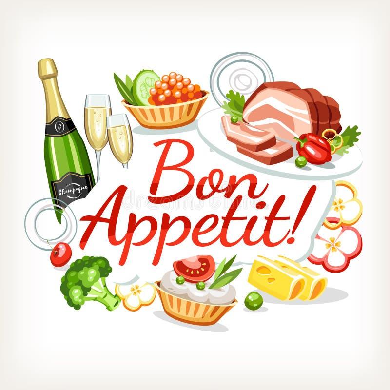 Εγγραφή επιγραφών ετικετών Bon appetit απεικόνιση αποθεμάτων