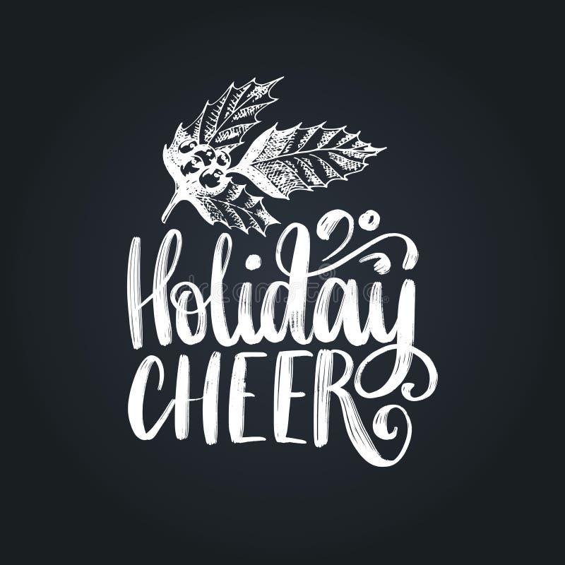 Εγγραφή ευθυμίας διακοπών στο μαύρο υπόβαθρο Διανυσματική απεικόνιση σχεδίων γκι Χριστουγέννων χαιρετισμός καρτών καλές &del απεικόνιση αποθεμάτων