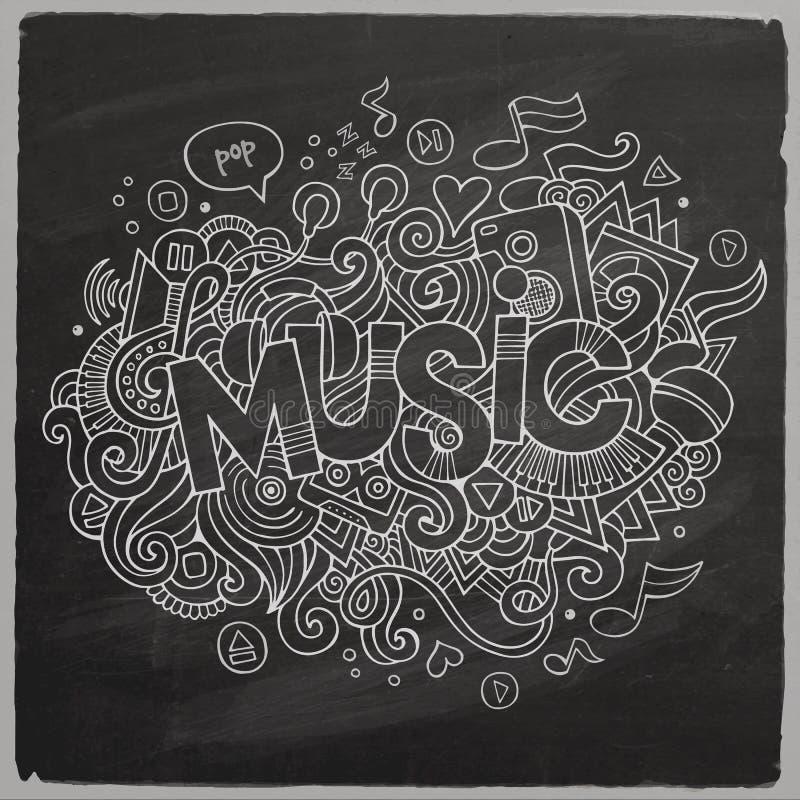 Εγγραφή και doodles στοιχεία χεριών μουσικής απεικόνιση αποθεμάτων