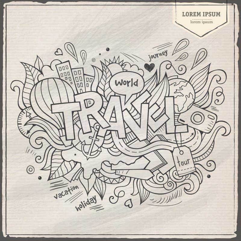 Εγγραφή και doodles στοιχεία χεριών ταξιδιού ελεύθερη απεικόνιση δικαιώματος