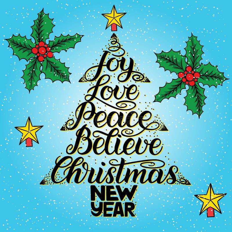 Εγγραφή καλλιγραφίας με μορφή χριστουγεννιάτικων δέντρων με το αστέρι Το νέο έτος, Χριστούγεννα, χαρά, αγάπη, ειρήνη, θεωρεί απεικόνιση αποθεμάτων