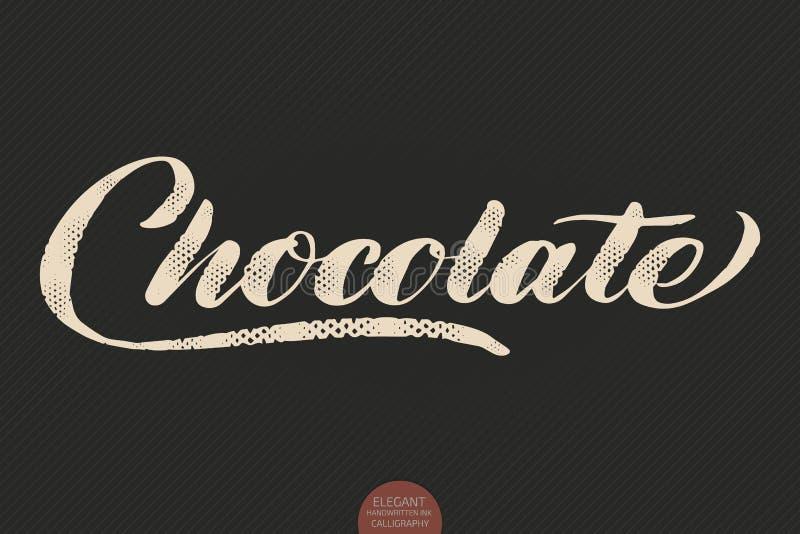 Εγγραφή καφέ Διανυσματική συρμένη χέρι σοκολάτα καλλιγραφίας Κομψή σύγχρονη απεικόνιση μελανιού καλλιγραφίας τυπογραφία διανυσματική απεικόνιση