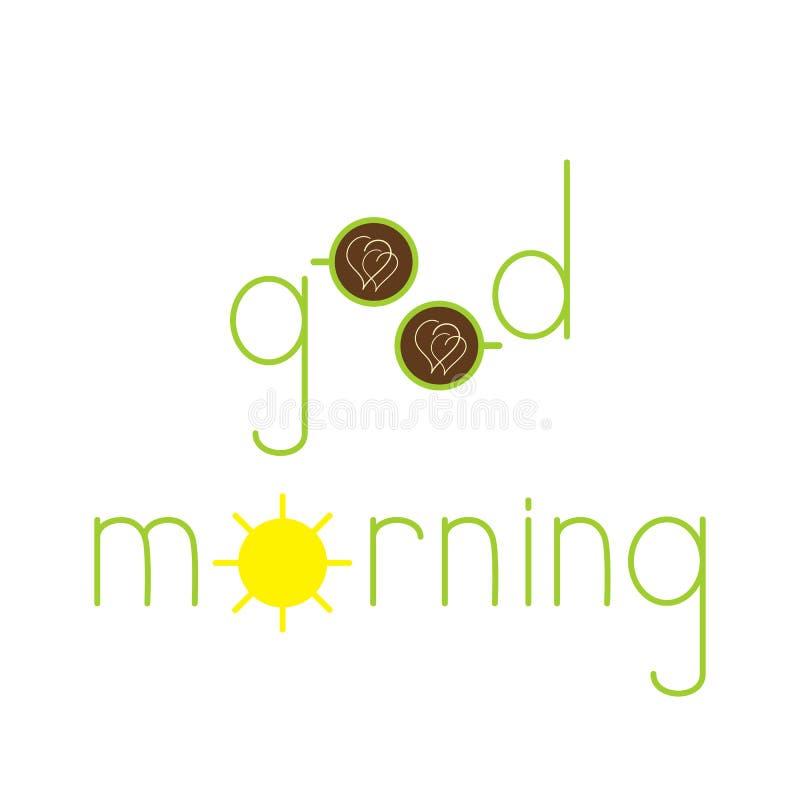 Εγγραφή καλημέρας με τα φλυτζάνια και τον ήλιο διανυσματική απεικόνιση