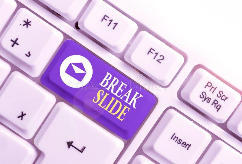 Εγγραφή κειμένου στο Word - Break Slide Επιχειρηματική ιδέα για μια καλή διαφάνεια εξώφυλλου για κάθε τμήμα της παρουσίασης Λευκό στοκ φωτογραφία με δικαίωμα ελεύθερης χρήσης