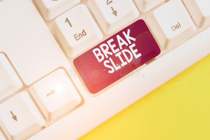 Εγγραφή κειμένου στο Word - Break Slide Επιχειρηματική ιδέα για μια καλή διαφάνεια εξώφυλλου για κάθε τμήμα της παρουσίασης Λευκό στοκ φωτογραφίες