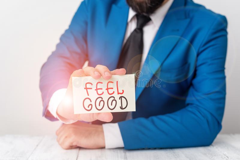 Εγγραφή λέξεων - Αισθανθείτε καλά Επιχειρηματική ιδέα για τη σύνδεση ή την προώθηση ενός συχνά ειδικού αισθήματος ικανοποίησης στοκ εικόνα με δικαίωμα ελεύθερης χρήσης
