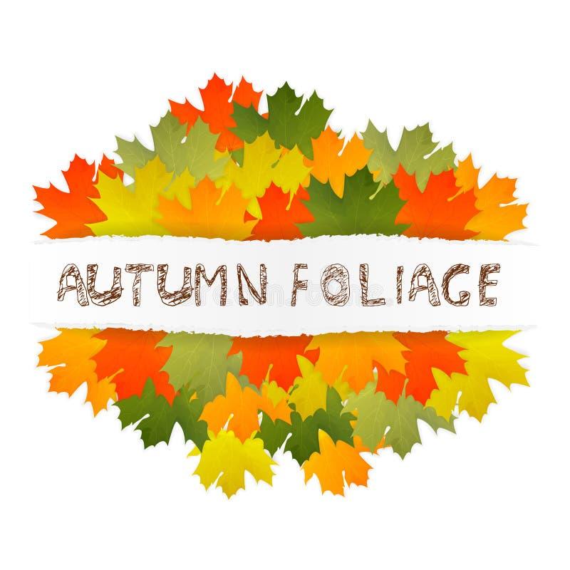 Εγγραφή παιδιών φυλλώματος φθινοπώρου Πολύχρωμα φύλλα σφενδάμου φθινοπώρου σε σχισμένο χαρτί διανυσματική απεικόνιση
