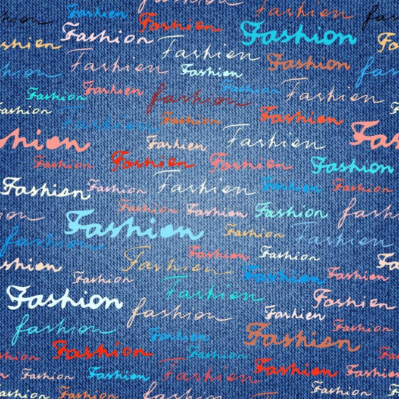 Εγγραφή της μόδας σε μια σύσταση υφάσματος τζιν τζιν απεικόνιση αποθεμάτων