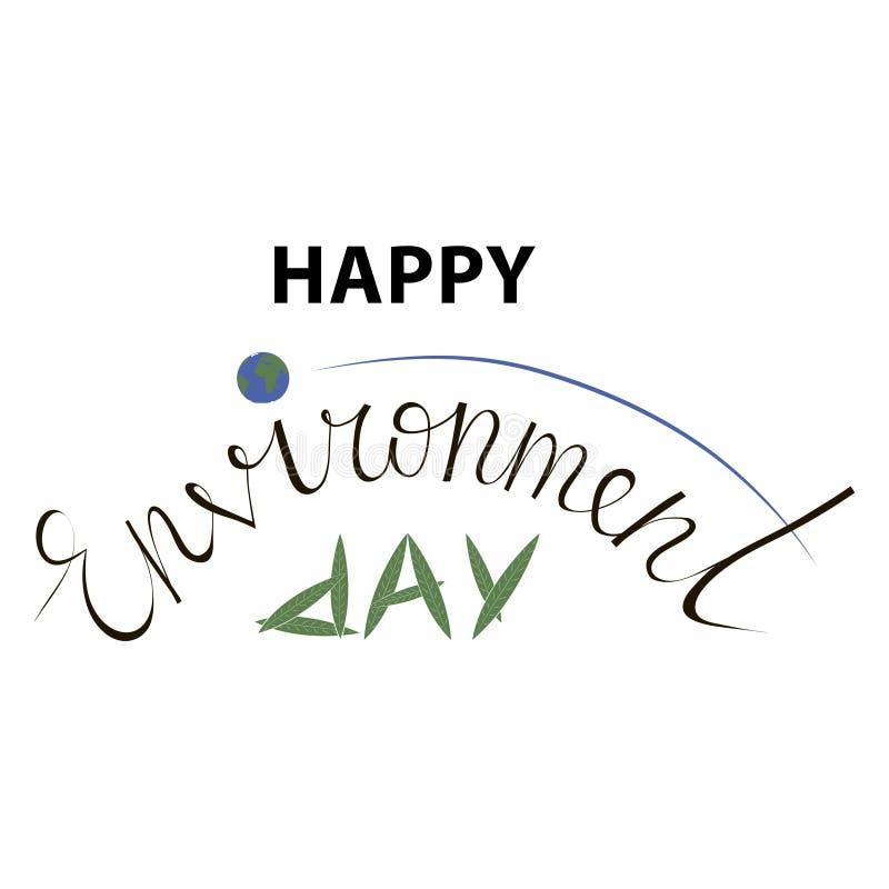 Εγγραφή χεριών ημέρας παγκόσμιου περιβάλλοντος για τις κάρτες, τις αφίσες κ.λπ. ελεύθερη απεικόνιση δικαιώματος