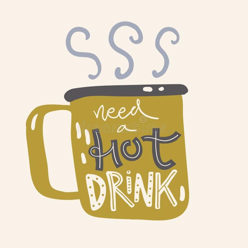 Εγγραφή χεριών με την κούπα με το ζεστό ποτό Χρειαστείτε ένα ζεστό ποτό, άνετη απεικόνιση στο Σκανδιναβικό ύφος ελεύθερη απεικόνιση δικαιώματος