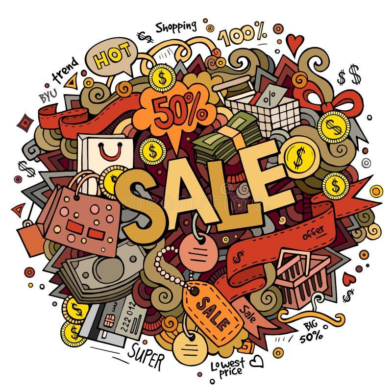 Εγγραφή χεριών πώλησης και doodles υπόβαθρο στοιχείων ελεύθερη απεικόνιση δικαιώματος