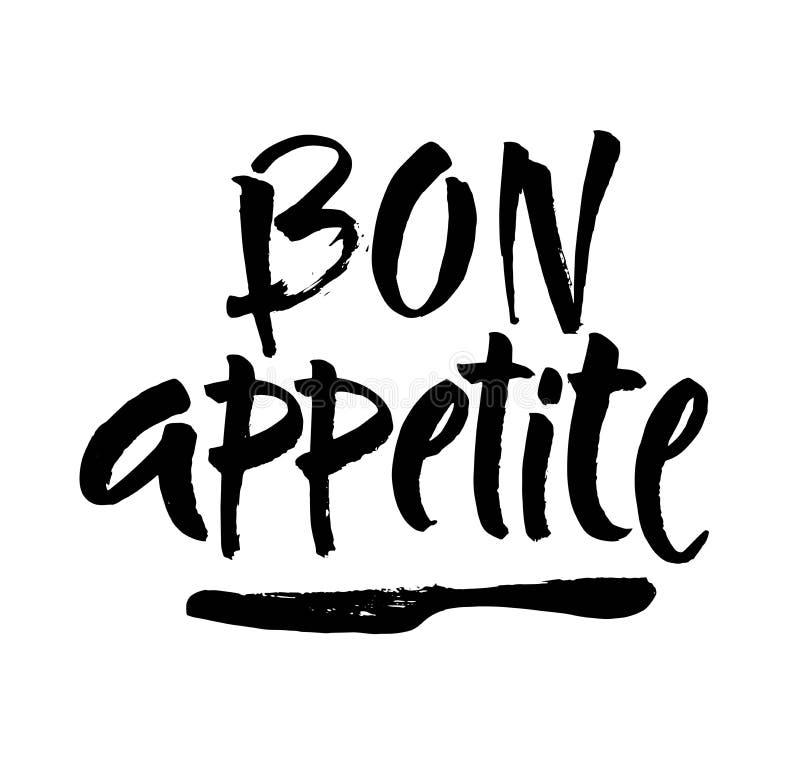 Εγγραφή χεριών όρεξης Bon, εκλεκτής ποιότητας τυπογραφία βουρτσών, γράψιμο συνήθειας που απομονώνεται στο άσπρο υπόβαθρο διάνυσμα διανυσματική απεικόνιση