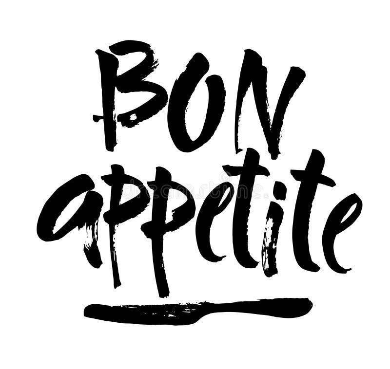 Εγγραφή χεριών όρεξης Bon, εκλεκτής ποιότητας τυπογραφία βουρτσών, γράψιμο συνήθειας που απομονώνεται στο άσπρο υπόβαθρο διάνυσμα απεικόνιση αποθεμάτων