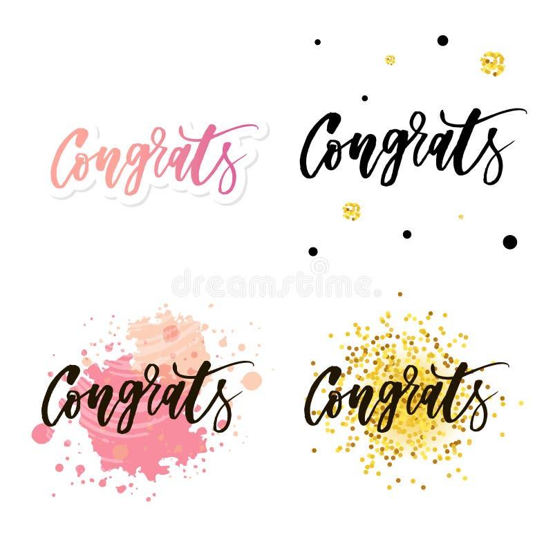 Εγγραφή Congrats Χειρόγραφη σύγχρονη καλλιγραφία, χρωματισμένες βούρτσα επιστολές Εμπνευσμένο κείμενο, διανυσματική απεικόνιση Πρ διανυσματική απεικόνιση