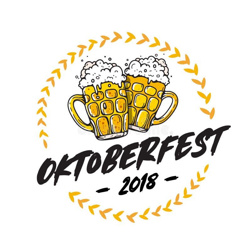 Εγγραφή Oktoberfest Κούπα δύο της μπύρας διανυσματική απεικόνιση