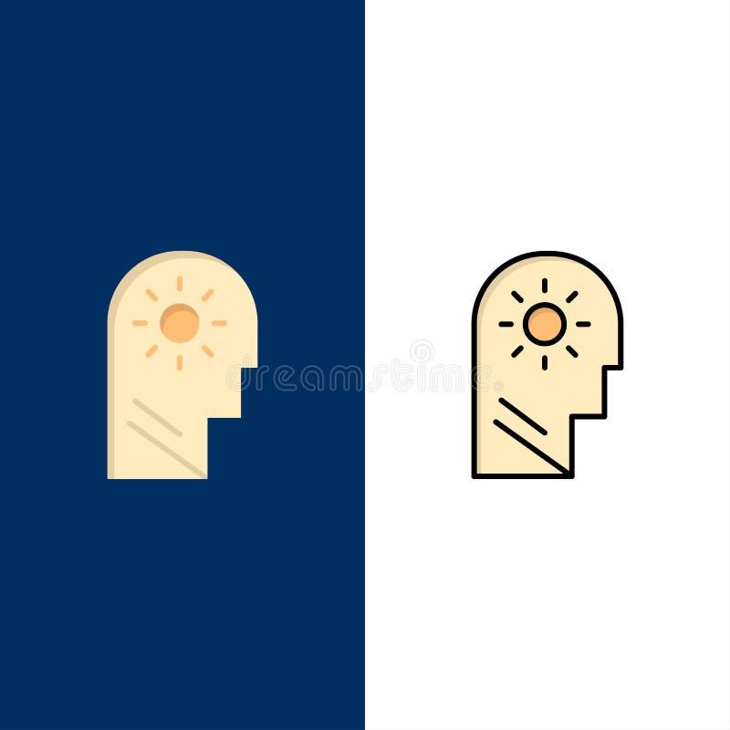 Εγκέφαλος, έλεγχος, μυαλό, θέτοντας εικονίδια Επίπεδος και γραμμή γέμισε το καθορισμένο διανυσματικό μπλε υπόβαθρο εικονιδίων απεικόνιση αποθεμάτων