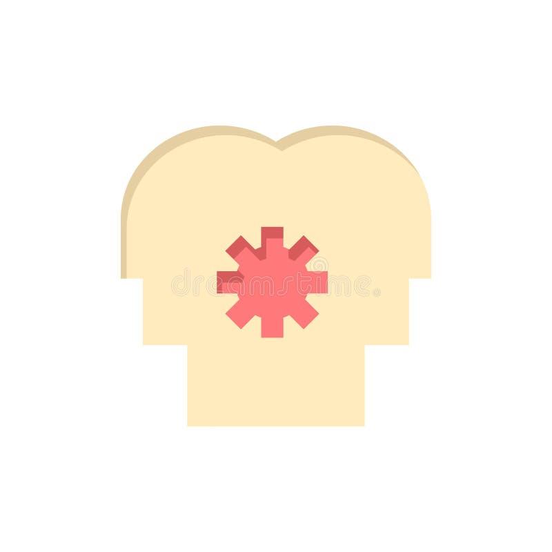 Εγκέφαλος, έλεγχος, μυαλό, θέτοντας επίπεδο εικονίδιο χρώματος Διανυσματικό πρότυπο εμβλημάτων εικονιδίων διανυσματική απεικόνιση
