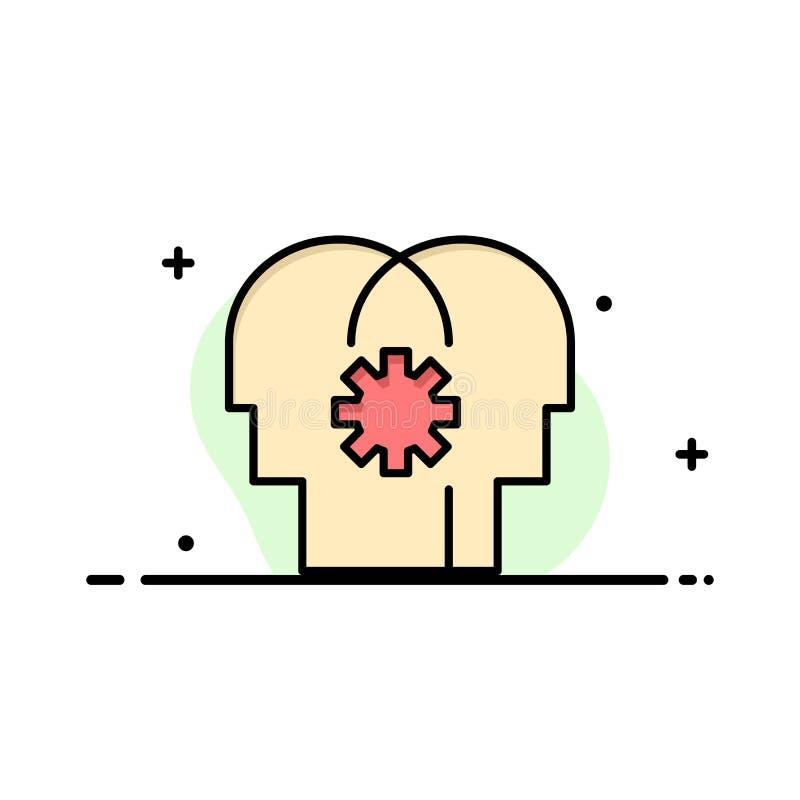 Εγκέφαλος, έλεγχος, μυαλό, θέτοντας επιχείρηση επίπεδο γεμισμένο γραμμή εικονίδιο διανυσματικό πρότυπο εμβλημάτων απεικόνιση αποθεμάτων