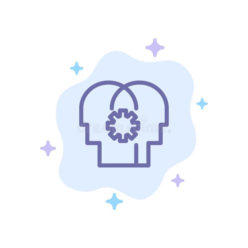 Εγκέφαλος, έλεγχος, μυαλό, θέτοντας μπλε εικονίδιο στο αφηρημένο υπόβαθρο σύννεφων διανυσματική απεικόνιση