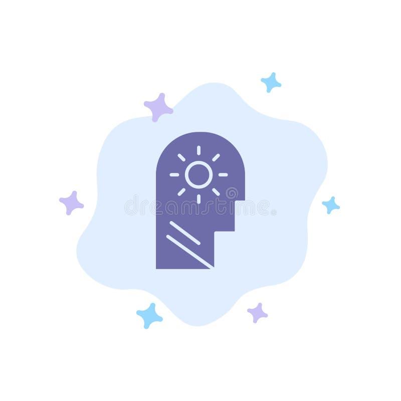 Εγκέφαλος, έλεγχος, μυαλό, θέτοντας μπλε εικονίδιο στο αφηρημένο υπόβαθρο σύννεφων ελεύθερη απεικόνιση δικαιώματος
