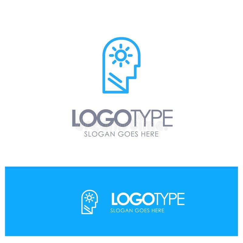 Εγκέφαλος, έλεγχος, μυαλό, θέτοντας μπλε θέση λογότυπων περιλήψεων για Tagline διανυσματική απεικόνιση