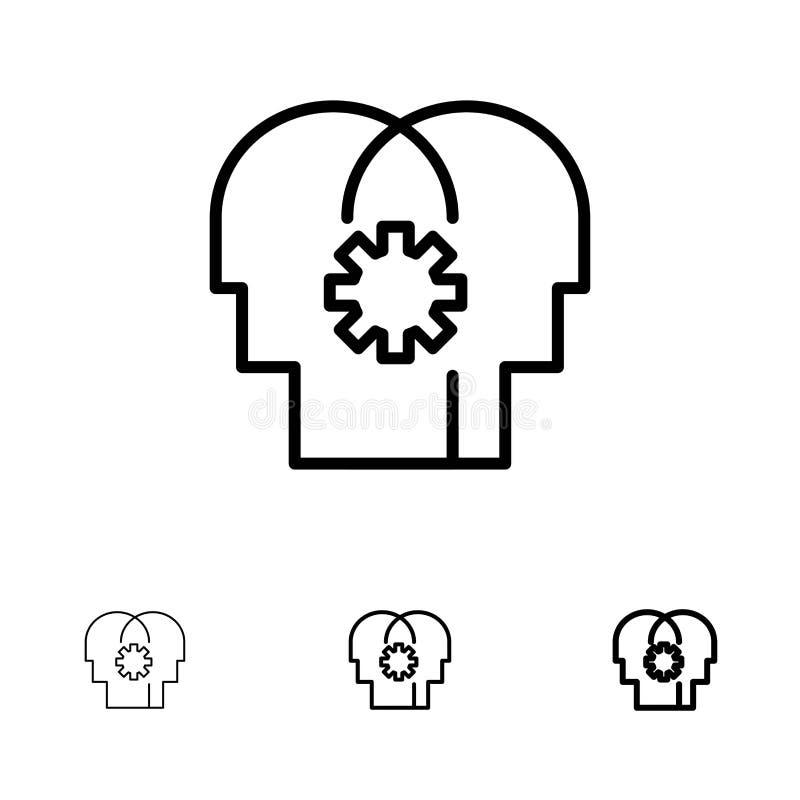 Εγκέφαλος, έλεγχος, μυαλό, θέτοντας τολμηρό και λεπτό μαύρο σύνολο εικονιδίων γραμμών διανυσματική απεικόνιση
