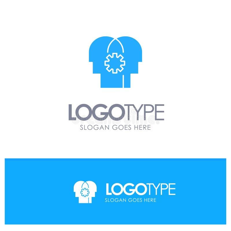 Εγκέφαλος, έλεγχος, μυαλό, μπλε στερεό λογότυπο ρύθμισης με τη θέση για το tagline απεικόνιση αποθεμάτων