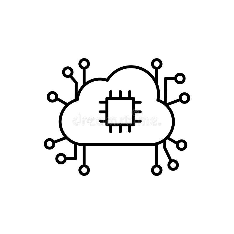 Εγκέφαλος, επεξεργαστής, σύννεφο, εικονίδιο δικτύων - διάνυσμα   ελεύθερη απεικόνιση δικαιώματος