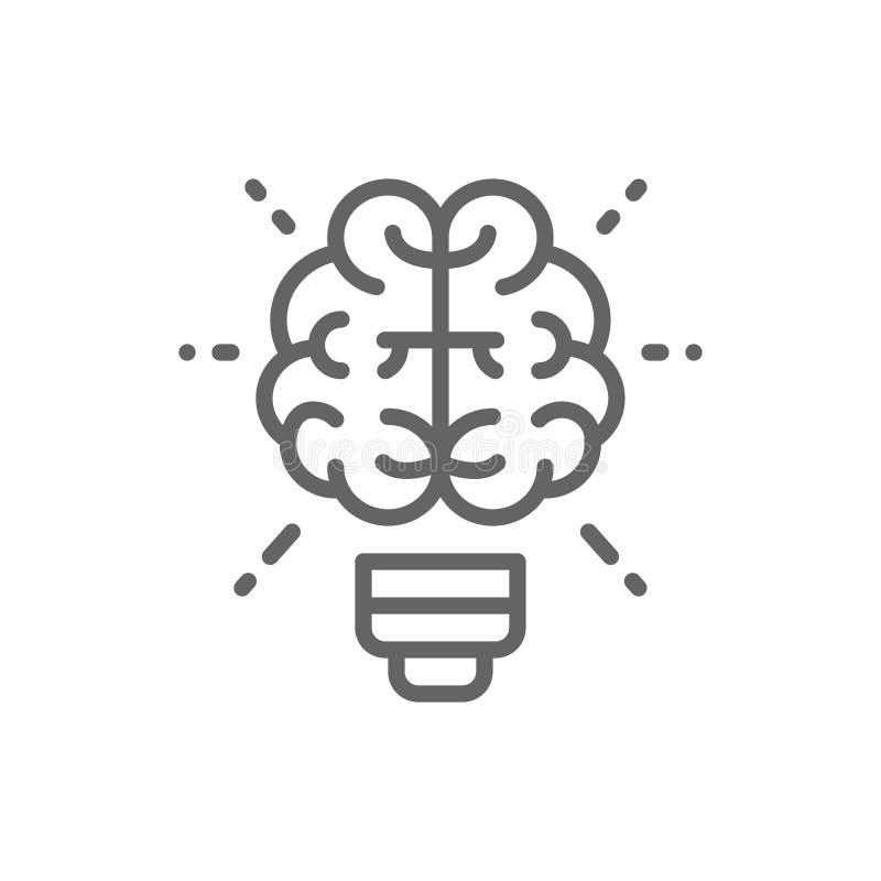 Εγκέφαλος και λάμπα φωτός, καινοτομία, δημιουργικό εικονίδιο γραμμών ιδέας ελεύθερη απεικόνιση δικαιώματος