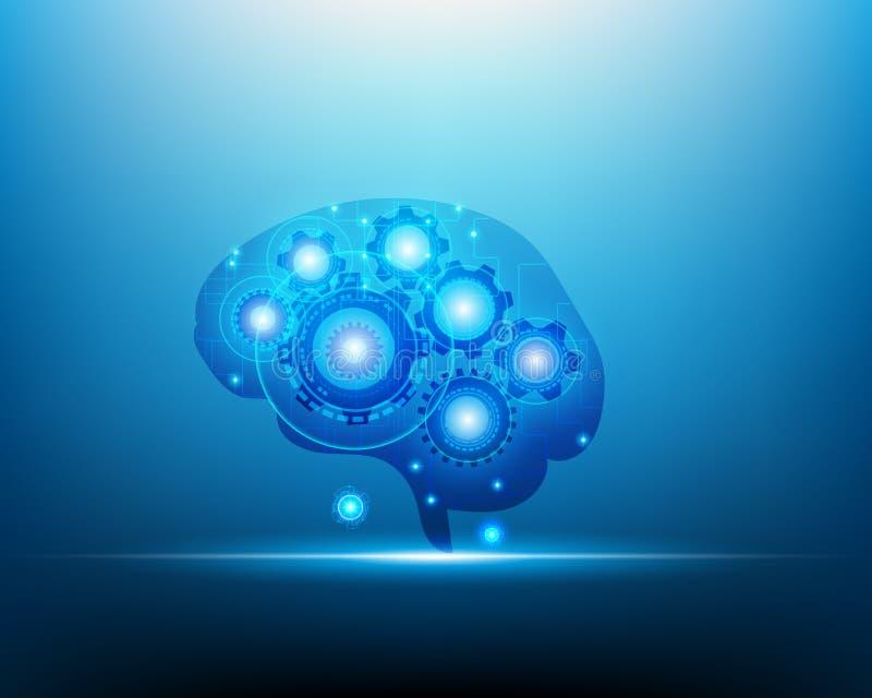 Εγκέφαλος ρομπότ AI πέρα από το μπλε υπόβαθρο, τεχνητή νοημοσύνη και διανυσματική απεικόνιση