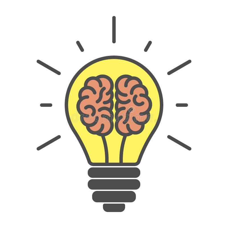 Εγκέφαλοι στο lightbulb απεικόνιση αποθεμάτων