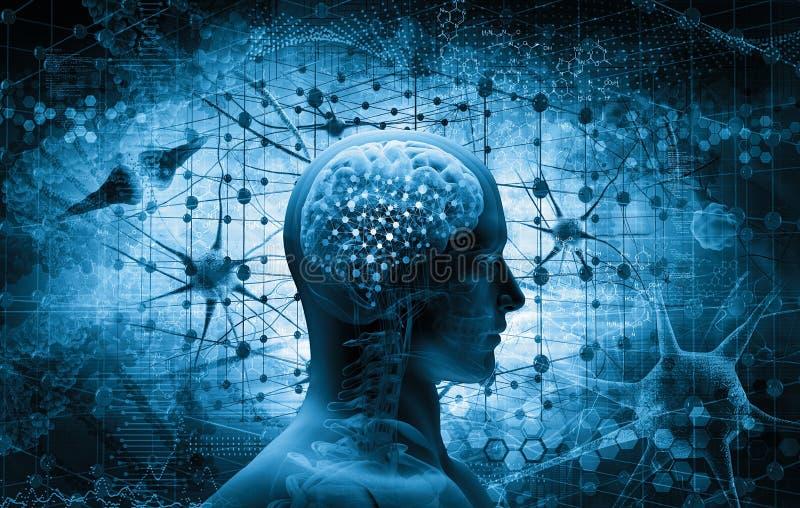 Εγκέφαλος, έννοια σκέψης διανυσματική απεικόνιση