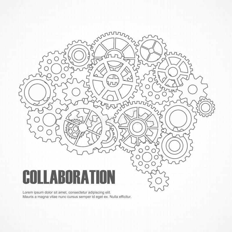 Εγκέφαλος εργαλείων για τη συνεργασία ή την ομαδική εργασία ελεύθερη απεικόνιση δικαιώματος