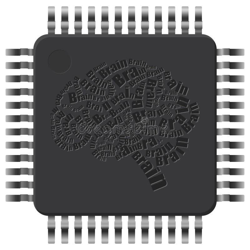 Εγκέφαλος μικροτσίπ διανυσματική απεικόνιση