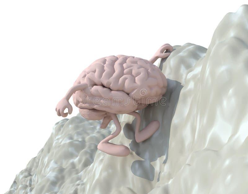 Εγκέφαλος που αναρριχείται σε ένα βουνό διανυσματική απεικόνιση
