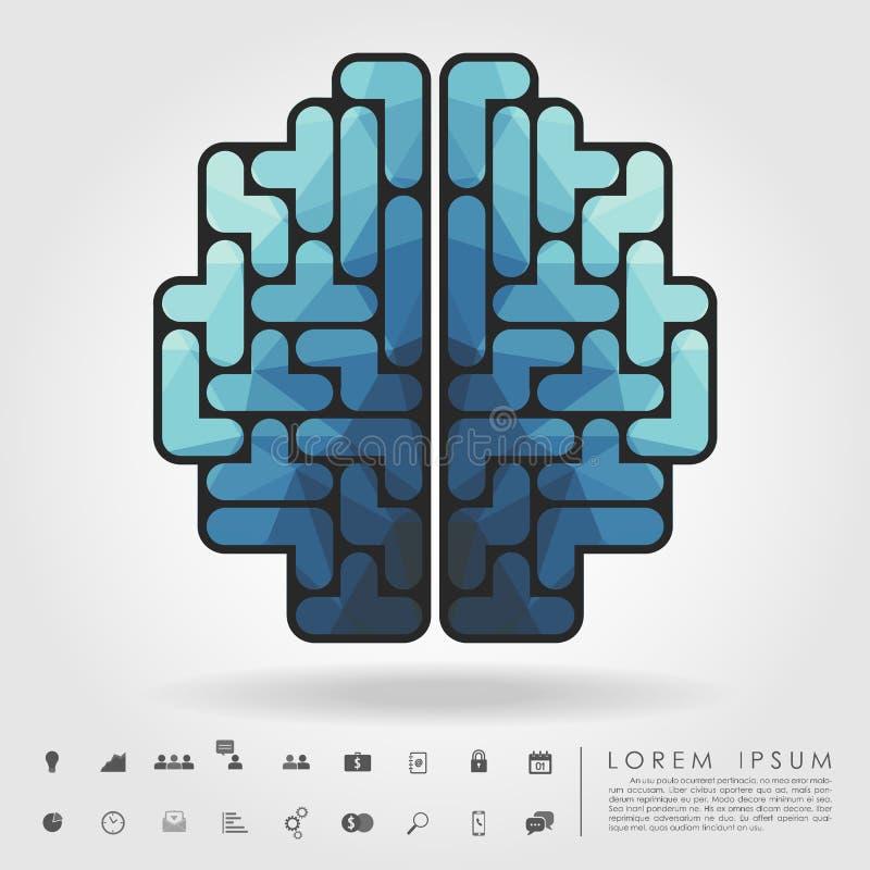 Εγκέφαλος πολυγώνων από τους φραγμούς tetris με το επιχειρησιακό εικονίδιο διανυσματική απεικόνιση