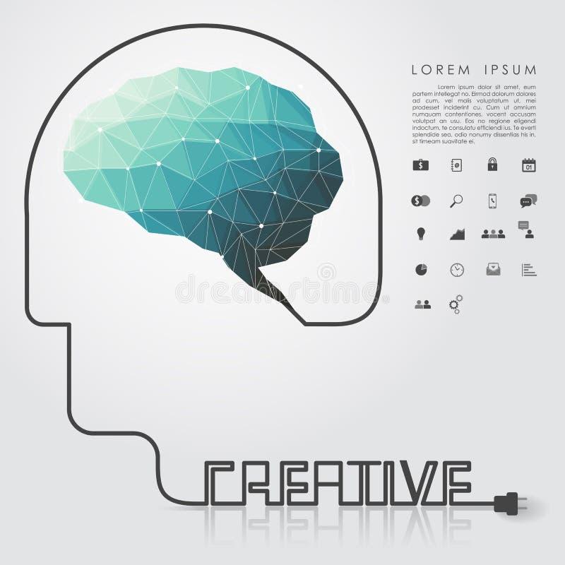 Εγκέφαλος πολυγώνων και δημιουργικό επικεφαλής καλώδιο με το επιχειρησιακό εικονίδιο διανυσματική απεικόνιση