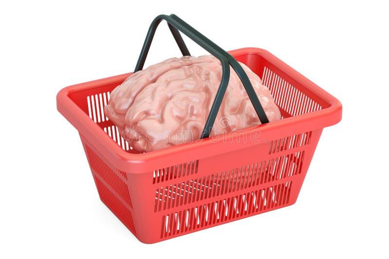 Εγκέφαλος στο καλάθι αγορών, τρισδιάστατη απόδοση απεικόνιση αποθεμάτων