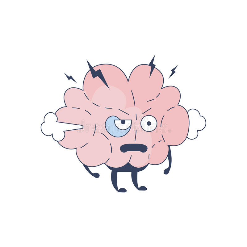 Εγκέφαλος Pissed από τον κωμικό χαρακτήρα που αντιπροσωπεύει το διάνοια και τις διανοητικές δραστηριότητες του ανθρώπινου επίπεδο διανυσματική απεικόνιση