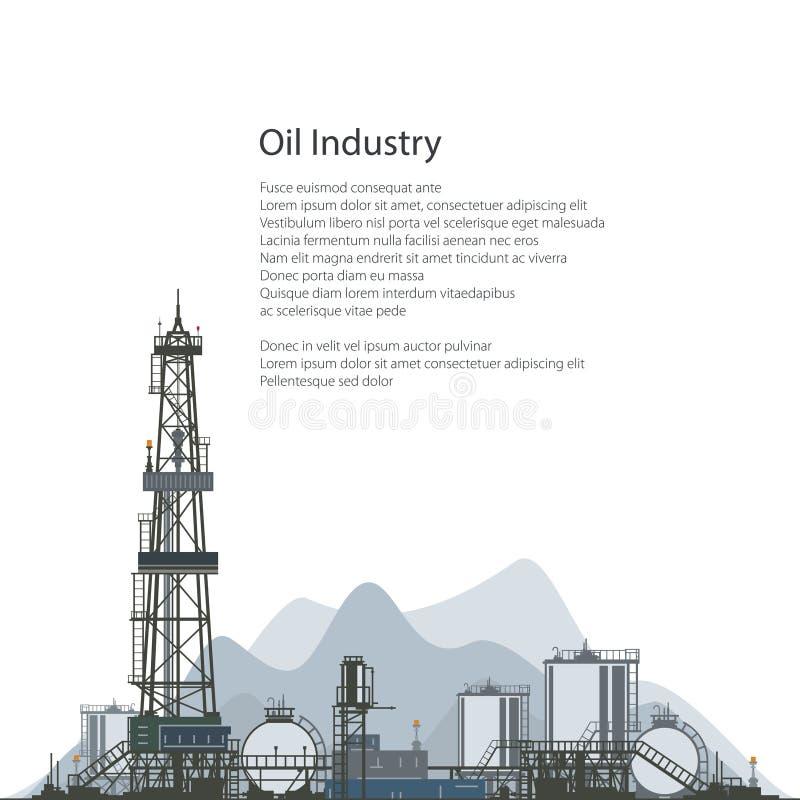 Εγκατάσταση γεώτρησης γεώτρησης πετρελαίου, σχέδιο ιπτάμενων φυλλάδιων ελεύθερη απεικόνιση δικαιώματος